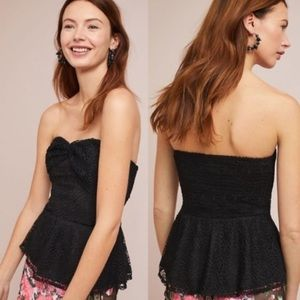 Anthropologie Porridge Lace Peplum Top Strapless